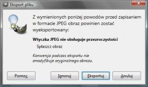 okno eksportu pliku w programie GIMP