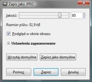 okno zapisu pliku w programie GIMP